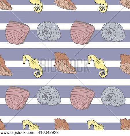Blue And White Stripe Nautical Seamless Pattern Background Featuring Seashells And Seahorses. Modern
