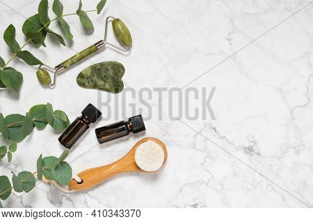 Natural Skin Care, Spa And Wellness Tools: Beauty Jade Roller, Gua Sha Stone, Essential Oil And Wood