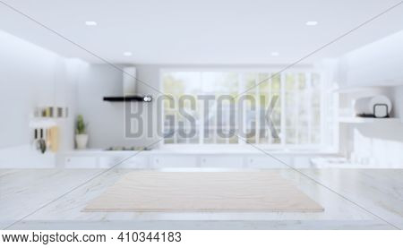 3d Rendering Of Kitchen Interior Blur Background With Counter Or Table. Decoration With Marble At To