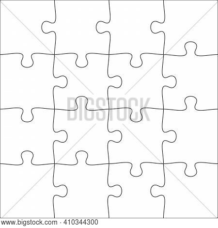 4x4 Jigsaw Puzzle Blank Template Background Light Lines. Every Piece Is A Single Shape.