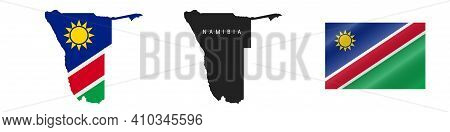 Namibia. Map With Masked Flag. Detailed Silhouette. Waving Flag. Vector Illustration Isolated On Whi