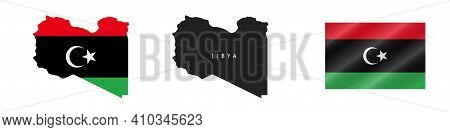Libya. Map With Masked Flag. Detailed Silhouette. Waving Flag. Vector Illustration Isolated On White