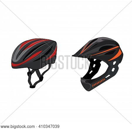 Mountain Race Bike And Cruiser Bycicle Helmet Realistic Set. Extreme Sports Safety Equipment. Head P