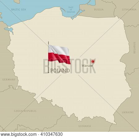Highly Detailed Map Of Poland Territory Borders, East European Country Administrative Map With Warsa