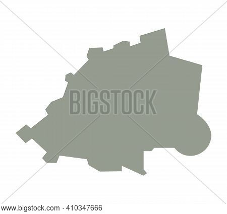 Silhouette Of Vatican Country Map. Highly Detailed Editable Gray Map Of Vatican, European Country Te