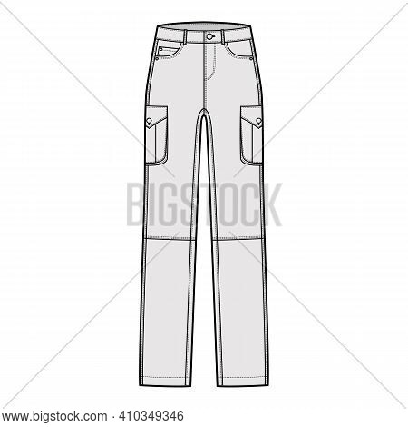 Set Of Jeans Cargo Denim Pants Technical Fashion Illustration With Low Waist, Rise, Pockets, Belt Lo