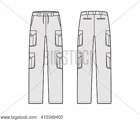 Set Of Cargo Pants Technical Fashion Illustration With Low Waist, Rise, Pockets, Belt Loops, Full Le