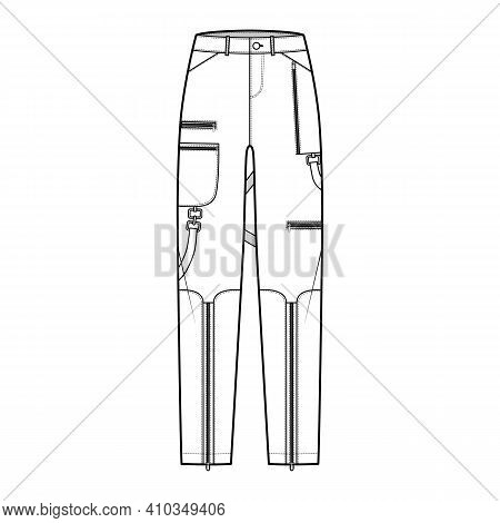 Bondage Pants Technical Fashion Illustration With Low Waist, Rise, Pockets, Belt Loops, Full Lengths