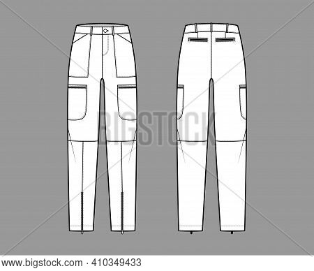 Set Of Parachute Pants Technical Fashion Illustration With Normal Waist, Rise, Pockets, Belt Loops,