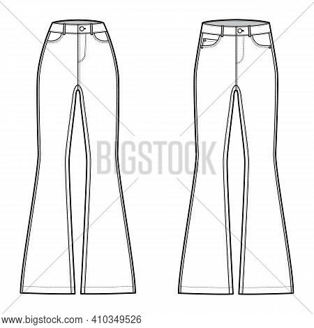 Set Of Jeans Flared Bottom Denim Pants Technical Fashion Illustration With Full Length, Normal Low W