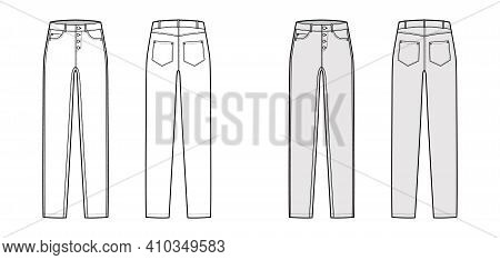 Jeans Botton Fly Tapered Denim Pants Technical Fashion Illustration With Full Length, Low Waist, Ris