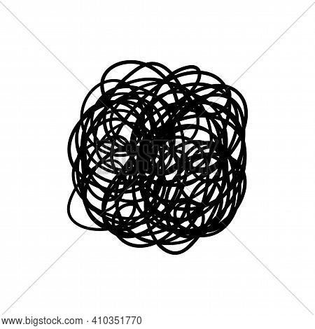 Messy Chaotic Scribble Circle Line Vector Isolated On White Background