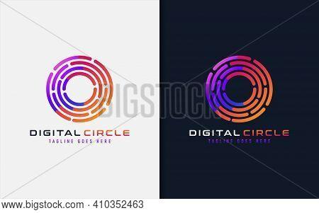 Digital Circle Logo Design. Creative Lines Circular Symbol Usable For Business Brand, Tech And Compa