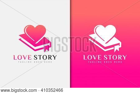 Love Story Logo Design. Abstract Diary Combined With Love Symbol. Vector Logo Illustration. Graphic