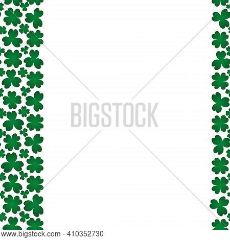 Clover. Green Plant. Seamless Vertical Border. Trefoil And Four-leafed. Repeating Vector Pattern. Sa