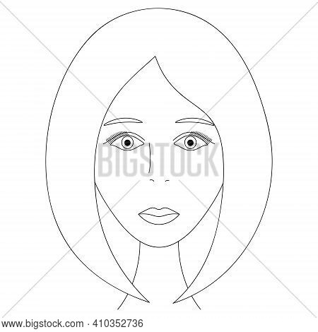 Womans Face. Sketch. The Girl Head Full Face. Vector Illustration. Classic Bob Hairstyle. Long Eyela
