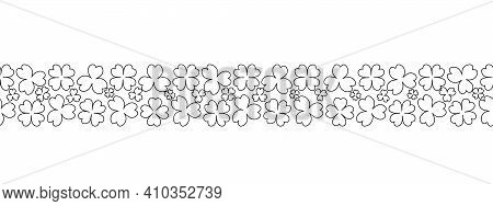 Clover. Sketch. Seamless Horizontal Border. Trefoil And Four-leafed. Repeating Vector Pattern. Saint