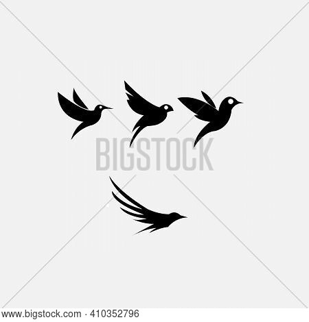 Small Colibri Vector Illustration With Typography. Digital Art With Trendy Geometric Shapes. Small B