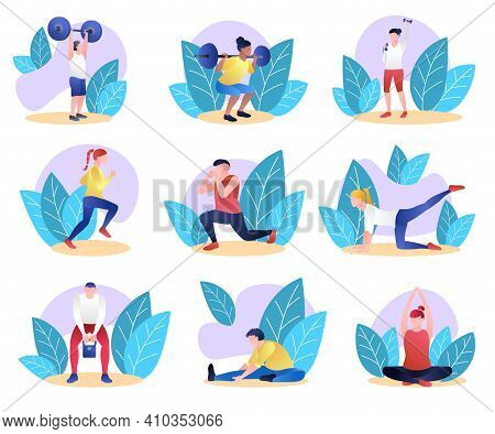 Collection Of Athletic People Doing Sports. Men And Women In Sports Uniform Weightlifting And Doing