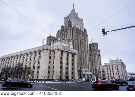 Moscow, Russia. February 20, 2021. Ministry Of Foreign Affairs Of Russia Main Building