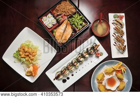 Various Assorted Traditional And Authentic Japanese Cusines
