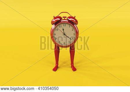 Clock With Human Legs . Passing Time And Deadline Concept . This Is A 3d Render Illustration .