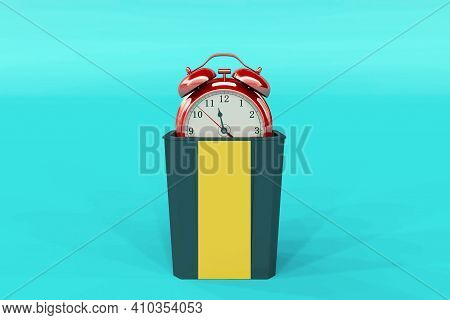 Wasted Time Concept . Clock In Trash Bin . This Is A 3d Render Illustration .