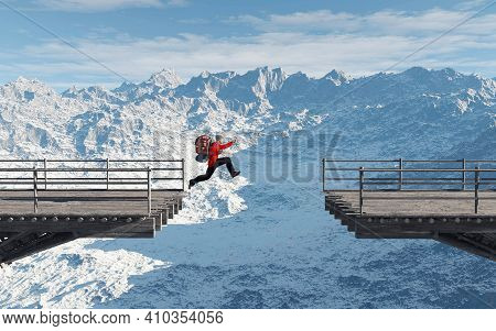 Man Jumps Over A Gap Of A Bridge . This Is A 3d Render Illustration