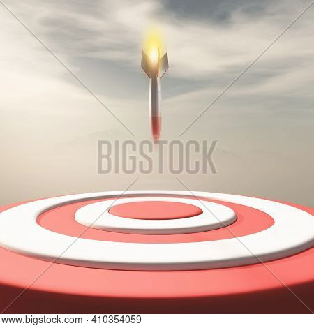 Rocket Missle Falling To A Red Target . Target Audience And Strategy Concept . This Is A 3d Render I