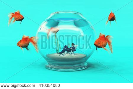 Man Inside A Fish Bowl And Golden Fish Arround . Job Recruit Concept This Is A 3d Render Illustratio