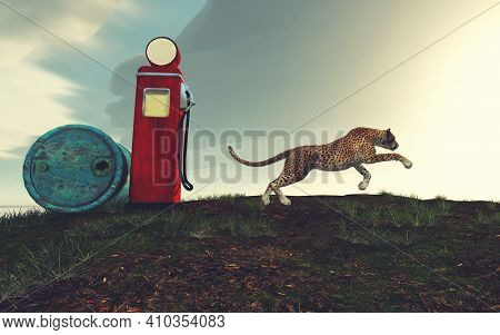Cheetah Running On Field And A Gas Pump .. This Is A 3d Render Illustration .
