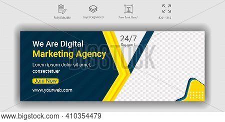 Digital Marketing Agency Social Media Facebook Cover Web Banner Design. Background Banner For Online