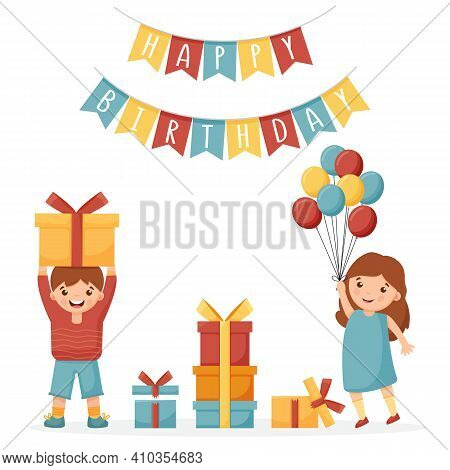 Girl Holding Balloons. The Boy Is Holding A Gift. Garland Of Flags With The Inscription Happy Birthd