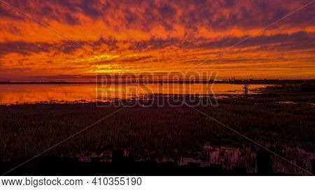 Red Sky At Sunset From Above The Eastern Shore Of Mobile Bay In Daphne, Alabama
