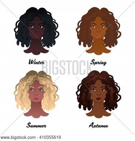 12 Seasonal Color Types. Four Colour Types Of African Women Appearances. Winter, Spring, Summer And