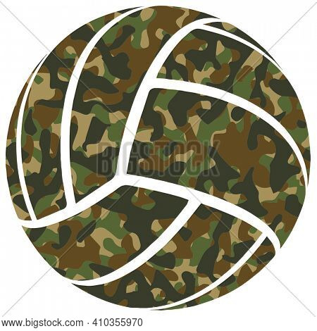 Green Camouflage Volleyball Silhouette on Black with Clipping Path