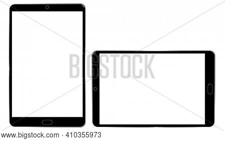 Illustration of Two Electronic Blank Touchscreen Devices with Clipping Paths Isolated on White
