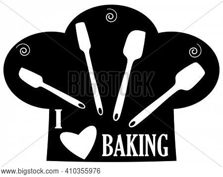 Set of Black Mixing Utensils Silhouette with Clipping Path I Love Baking Chef Hat and Heart