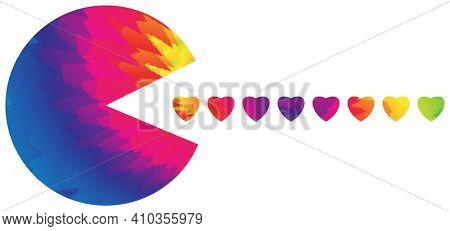 Tie Dye Circle Eating Tie Dye Hearts with Clipping Path Isoalted on White Illusatration