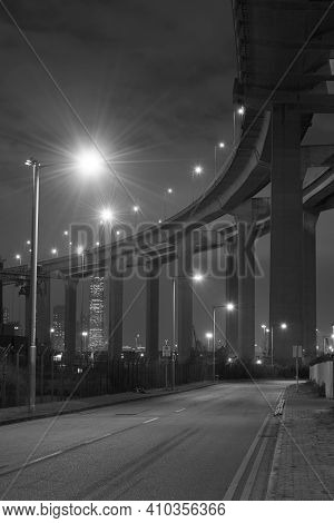 Elevated Highway Or Bridge At Night In Monochrome