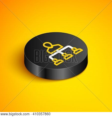 Isometric Line Referral Marketing Icon Isolated On Yellow Background. Network Marketing, Business Pa
