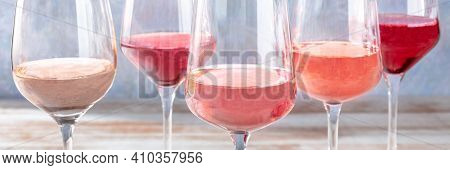 Rose Wine Panorama, Various Tints Of Pink Wine, Side View