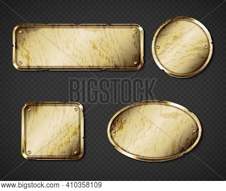 Gold Or Brass Old Plates, Golden Shabby Name Plaques With Gaps Empty Mockup. Metal Dirty Identificat