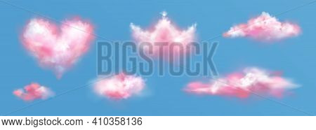 Pink Clouds In Crown And Heart Shape In Sky. Vector Realistic Set Of Fluffy Clouds In Air, Pink Smok
