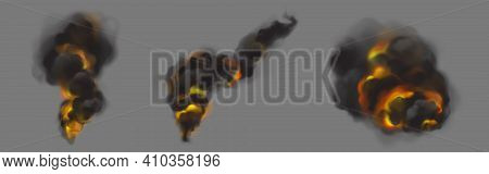 Black Smoke Clouds From Burning Fire. Vector Realistic Set Of Dark Hot Fog Streams, Smoke With Orang
