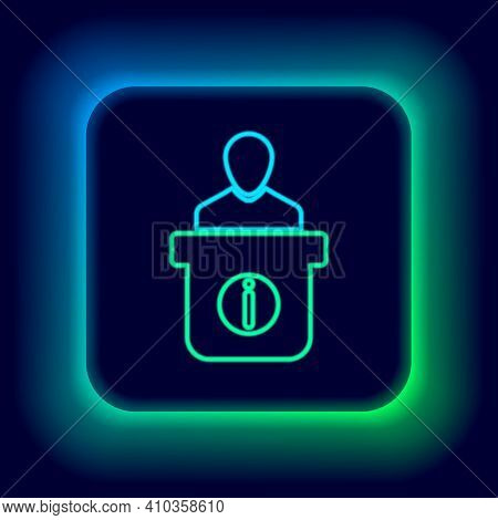 Glowing Neon Line Information Desk Icon Isolated On Black Background. Man Silhouette Standing At Inf