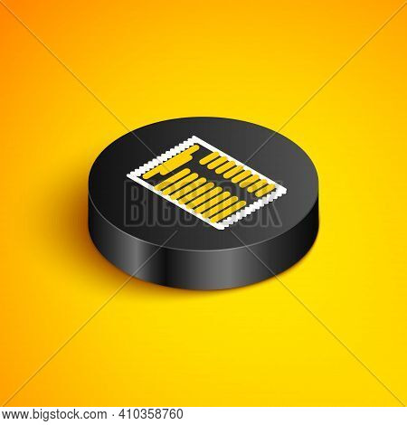 Isometric Line Paper Check And Financial Check Icon Isolated On Yellow Background. Paper Print Check