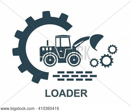 Vector Icon Of The Tractor Loading Truck Logo. Construction And Special Equipment, Tractor.
