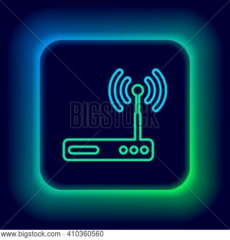 Glowing Neon Line Router And Wi-fi Signal Symbol Icon Isolated On Black Background. Wireless Etherne