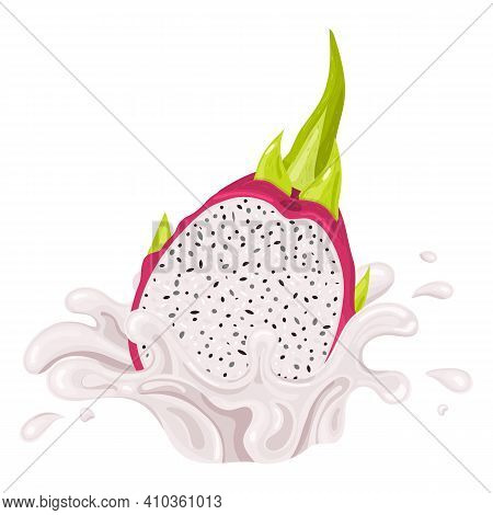 Fresh Bright Red Half Pitaya Juice Splash Burst Isolated On White Background. Summer Fruit Juice. Ca